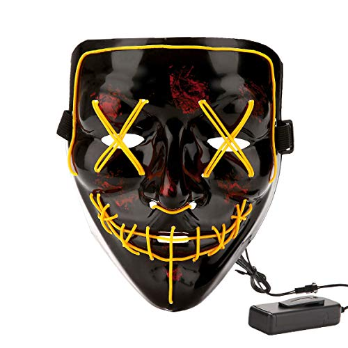 Halloween Costume Festival Parties Scary Mask LED Light Up Masks Yellow ()