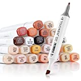 24 Colors Skin Tone Pens TOUCHNEW Dual Tip Twin Marker Set, Artist Permanent Sketch Manga Marker Pens for Portrait Illustration Drawing Coloring - Alcohol Based Art Markers