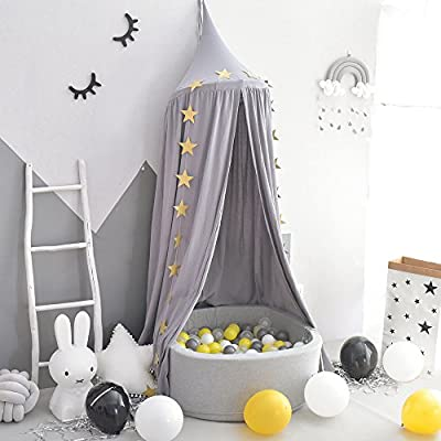 Generate Cotton Canvas Dome Bed Canopy Kids Play Tent Mosquito Net for Baby Kids Indoor Outdoor Playing Reading Height 230cm/90.55 in Grey