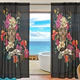 SEULIFE Window Sheer Curtain Floral Suagr Skull Voile Curtain Drapes for Door Kitchen Living Room Bedroom 55x78 inches 2 Panels
