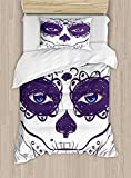 Twin XL Extra Long Bedding Set,Duvet Cover Set,Dia De Los Muertos Sugar Skull Girl Face with Mask Make up Print,Cosy House Collection 4 Piece Bedding Setss,Black White and Blue