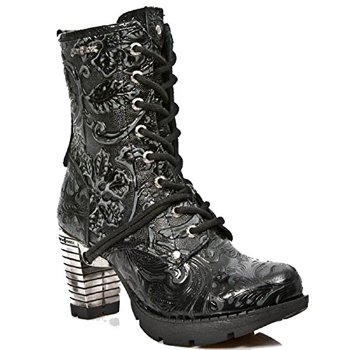 New Rock Damen Vintage schwarze Blumenstahl Absatz-Knšchel-Gotik Stiefel