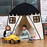 Large Children Playhouse - Black Beige Indoor Nursery Canvas Play Tent Bed House, Sturdy Frame & Mess Windows, Easy to Put Up and Take Down