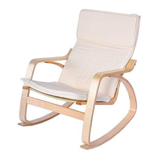 Mecedora reclinable, cómoda silla relajante de madera de abedul sillón relax silla salón moderno hogar oficina muebles beige