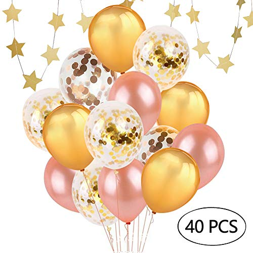 40 pcs Gold & Rose Gold & Confetti Latex Party Balloons 12 inches for Party Wedding Birthday Decorations and Proposal with Free Star Hanging Decor (Gold & Rose Gold & Confetti) - Balloons Free Latex