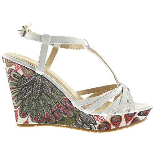 Angkorly - Chaussure Mode Sandale Mule plateforme salomés femme brodé fantaisie multi-bride Talon compensé plateforme 10.5 CM - Blanc