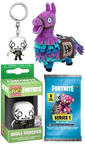 Series Plush Figure - Fortnite Victory Runs Bone deep Gamer Series Skull Trooper Mini Figure Backpack Hanger Pop! Keychain Bundled Trading Cards Pack & Purple Llama Plush Gear 3 Items