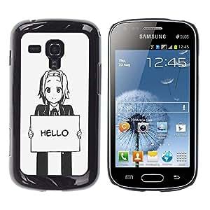 //MECELL CITY PRESENT//SmartPhone Carcasa rígida Carcasa de plástico PC Carcasa fresco imagen para Samsung Galaxy S Duos S7562///Hello Grey Anime Japanese Cartoon Message///