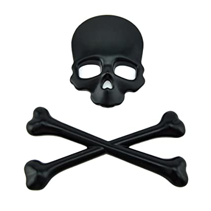 T tocas black motorcycle skull bone emblem metal decal 3d sticker for vehicle motorcycle