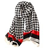 GERINLY Houndstooth Scarves Silk Like Neck Scarf Spring SummerShawl and Wraps for Women (Black)