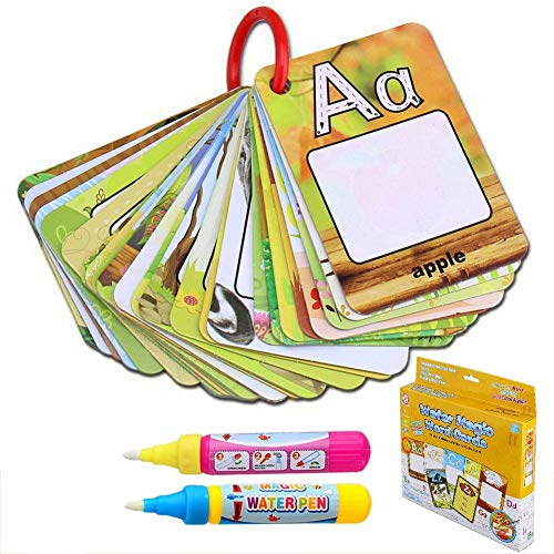 BBLIKE Reusable Coloring Books for Toddlers, Paint with Water Books Magic Alphabet Word Colouring Doodle Pad ABC Flash Card Educational Toy for Toddlers, 2 Magic Pen + 26 Letters Water Reveal Word