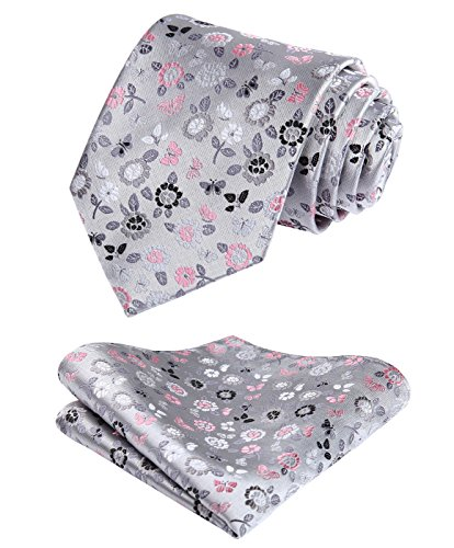 - HISDERN Check Floral Dot Tie Handkerchief Wedding Party Woven Classic Men's Necktie & Pocket Square Set,Gray & Pink,One Size