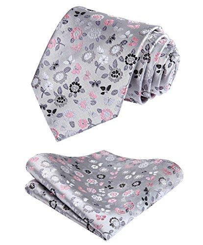 HISDERN Check Floral Dot Tie Handkerchief Wedding Party Woven Classic Men's Necktie & Pocket Square Set Gray / Pink Gray Floral Tie