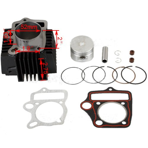 52mm Cylinder Piston Pin Ring Gasket Kit for 110cc ATVs Dirt Bikes Go Karts Quad 4 Wheeler Pit Bike Dune Buggys ()