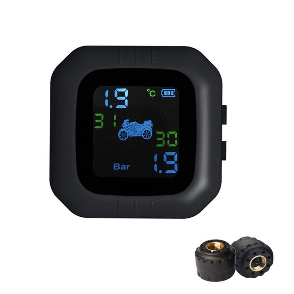 impermeabile Tpms in tempo reale allarme pressione pneumatici ad alta precisione con 2 sensori senza fili schermo LCD Sistema di controllo pressione pneumatici per moto antipolvere M3