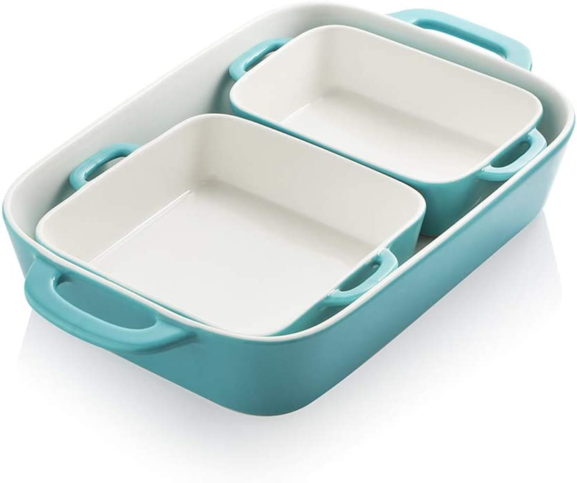 SWEEJAR Ceramic Bakeware Set, Rectangular Baking Dish for Cooking, Kitchen, Cake Dinner, Banquet and Daily Use, 12.8 x 8.9 Inches porcelain Baking Pans (Turquoise)