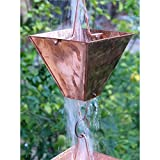 Extra Large Square Cups Copper Rain Chain with Installation Kit - 11 Foot