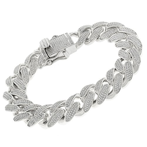 925 Sterling Silver 15.5mm Miami Cuban CZ Iced Out Bling Bracelet Chain Rhodium Plated 8.5'' by In Style Designz