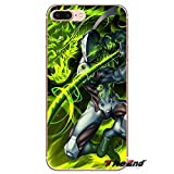 Green Overwatch Genji iPhone 6 Case, Silver Action Game Hero iPhone 6S Cover Fictional Game Character Gaming Themed iPhone Casing Gift for Games Shooter Gamer, Anti-Knock Soft TPU Silicone