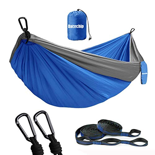 Datechip Double Camping Hammock, Portabl, Lightweight Parachute Nylon Hammocks with 2 Tree Straps & Carabiner for Indoor Outdoor Backpacking, Travel, Beach, Hiking, Yard, Garden (Best Camping Hammock For Big Guys)