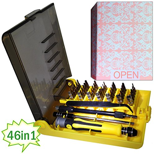 Price comparison product image QUIET 46 Piece Precision Screw Driver Set Magnetic Tool Repair Kit, Professional Repiar Phone,Tablet PC, Laptop Pad ,Watch & DIY Etc Electronics Repair Tool Kit