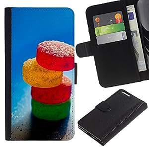 YiPhone /// Tirón de la caja Cartera de cuero con ranuras para tarjetas - Caramelo de azúcar - Apple Iphone 6 PLUS 5.5