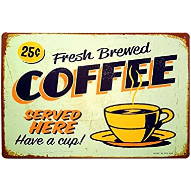 ERLOOD Fresh Brewed Coffee Served Here Have a Cup- Retro Vintage Tin Sign 12  X 8