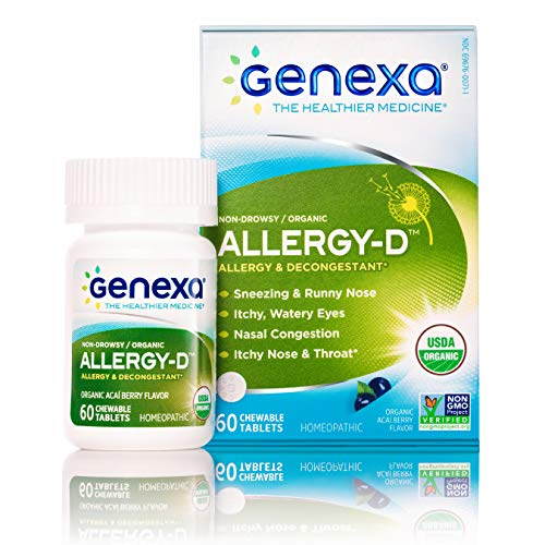 Genexa Homeopathic Allergy Medicine: Certified Organic, Physician Formulated, Natural, Non-Drowsy, Non-GMO Verified Decongestant. Helps Provide Seasonal Allergy Relief (60 Chewable Tablets) ()