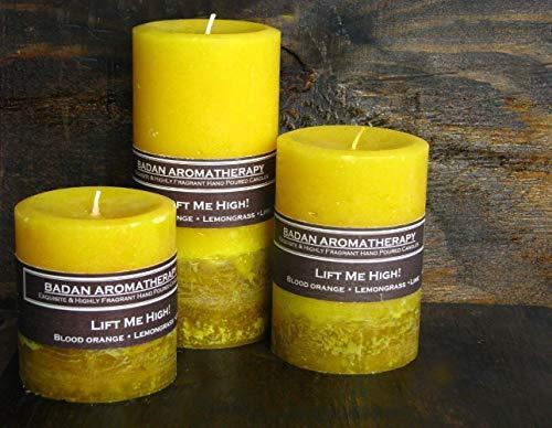 (Lift Me High! Lemongrass Blood Orange Lime Citrus Scented Beeswax Pillar Candle, 3 Piece Set)