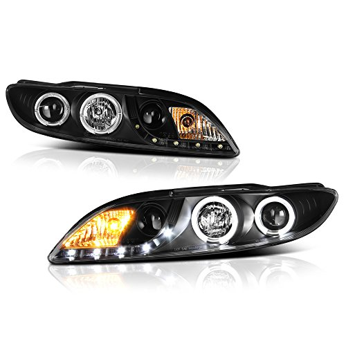 [For 2003-2005 Mazda 6 Halogen Model] LED Strip Halo Ring Black Housing Projector Headlight Headlamp Assembly, Driver & Passenger -
