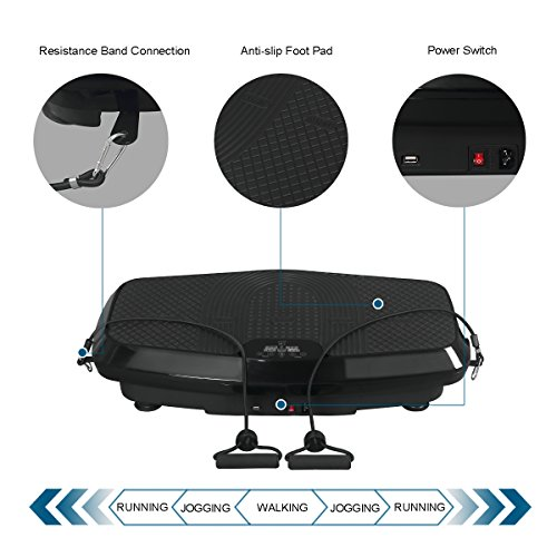 URSTAR Vibration Platform Exercise Machine, Whole Body Shape and Workout Trainer with Resistance Band and Remote Control