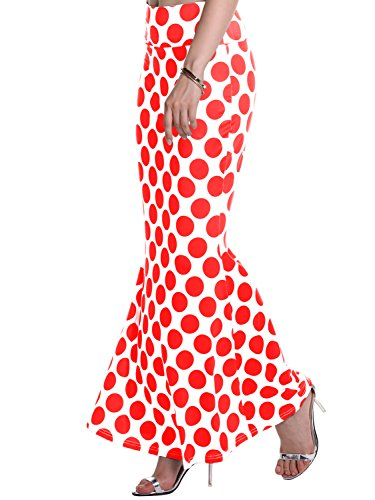Florboom Womens Polka Dots Printed Fishtail Ankle Length Maxi Skirt Red M
