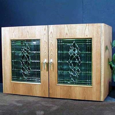 Vinotemp 296B 2 Door Oak Wine Cooler Credenza with Decorative Glass Doors Wood Finish: White - Wine Refrigerator Credenza