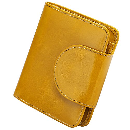 S-ZONE Women's Genuine Leather Tri-Fold Small Wallet Compact Card Organizer with Photo Slot (Yellow) by S-ZONE