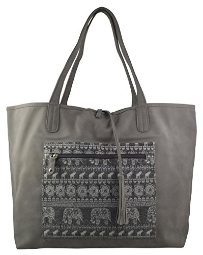 Print Canvas Cross Body (Women's / Girls Hippy Hobo Reversible Tote Lace Floral Multicolor Design on Canvas Material Handbag (Grey Elephant))