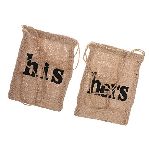 MagiDeal 2pcs Burlap his hers Dollar Dance Bags Drawstring Bag Wedding Gift Bags