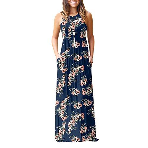 ffb098b36db4  Maxikleid Damen  Ärmellos Kleid Lang A-Linie Sommerkleid mit Blumen Kleid  Bodenlanges Sommerkleid