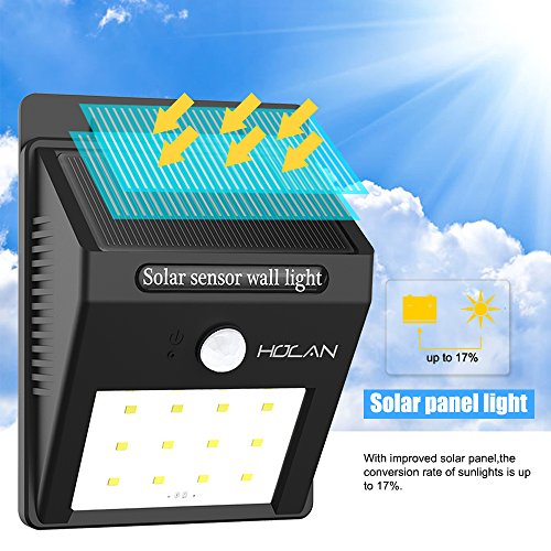 Solar Motion Sensor Lights,Holan 12 LED Waterproof Solar Powered Security Light Outdoor Wall Light for Garden, Outdoor, Fence, Patio, Deck, Yard, Driveway, Stairs