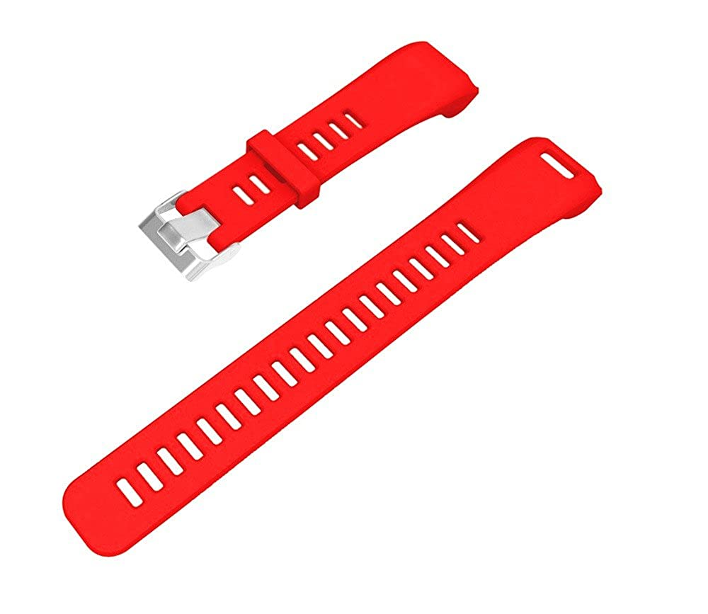 Garmin Vivosmart HR Banda,Replacement Soft Silicone Bracelet Strap Wristband For Garmin Vivosmart HR Pulsera Inteligente con M/últiples Modos De Deporte Rojo, Length: 230MM Width:21MM