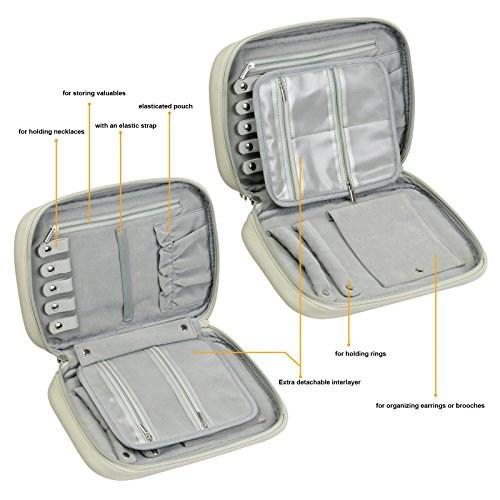 Becko Travel Jewelry Organizer Bag Case Roll Pouch (Creamy White) by Becko (Image #4)