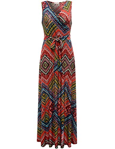 Aphratti Women's Bohemian Sleeveless V Neck Faux Wrap Long Maxi Dress Multi Red Small