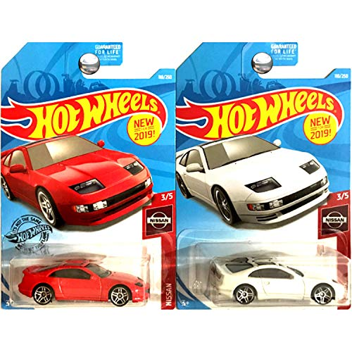 Hot Wheels 2019 Nissan 300ZX Twin Turbo 110/250 Red and White 2 Car Bundle Set