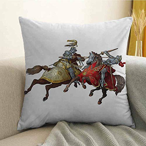 FreeKite Medieval Printed Custom Pillowcase Middle Age Fighters Knights with Ancient Costume Renaissance Period Illustration Decorative Sofa Hug Pillowcase W16 x L24 Inch -