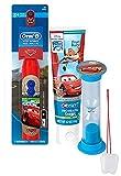"Disney Pixar ""Cars"" 3pc Bright Smile Oral Hygiene Set! Turbo Spin Toothbrush, Toothpaste & Brusing Timer! Plus Bonus ""Remember To Brush"" Visual Aid"