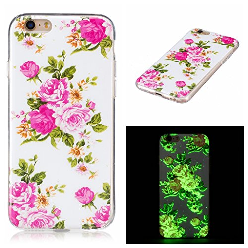 "Coque iPhone 7, IJIA Ultra-mince Transparent Noctilucent Rose Pivoine TPU Doux Silicone Bumper Case Cover Shell Skin Housse Etui pour Apple iPhone 7 (4.7"") + 24K Or Autocollant"