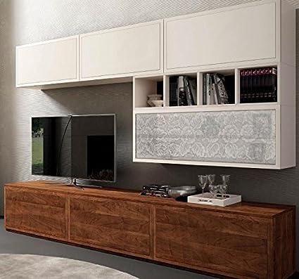 Dafnedesign.com - Parete componibile per soggiorno, laccata bianca ...