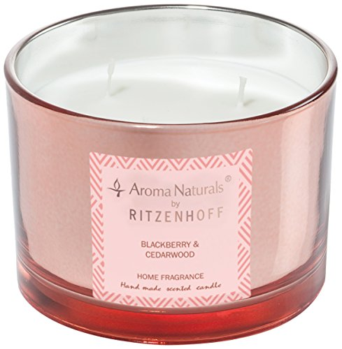 (Ritzenhoff 5080004Aroma Naturals Luxury Scented Candle in Glass-Black/Pink (11x 11x 8cm)