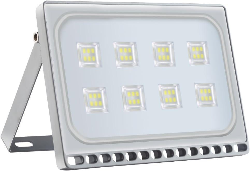 Proyector LED para exteriores, reflector IP67, diseño ultradelgado y ultraligero para jardín, jardín, terraza, cuadrado [Clase de eficiencia energética A ++] (50W, Blanco Frío)