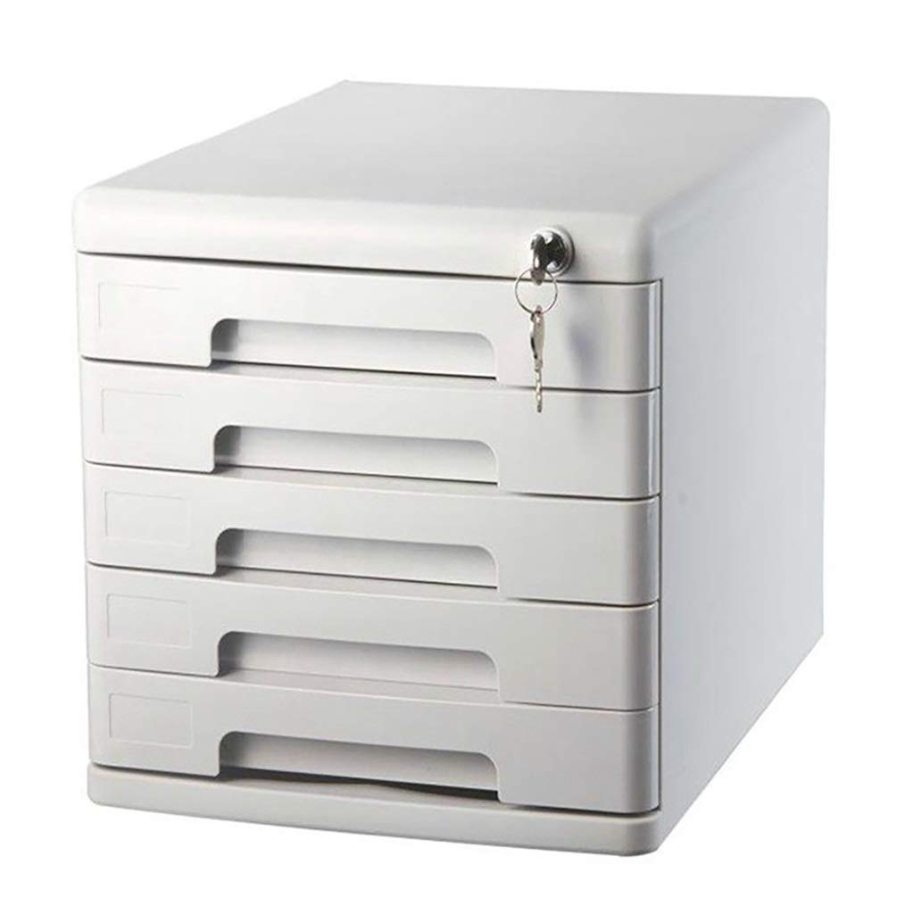 File Cabinet Five Floors Desktop with Lock Confidentiality Plastic Drawer Data Office Storage Box Storage Archive Gray (Design: 5 Floors) Filing cabinets (Color : A)