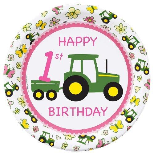John Deere Pink 1st Birthday Dinner Plates (8)